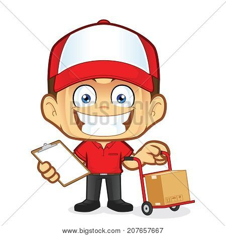 Clipart picture of a delivery man courier cartoon character holding a cart and clipboard