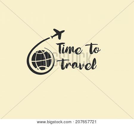 Freehand Drawn  Illustration Black Logo For Summer Travel Busine