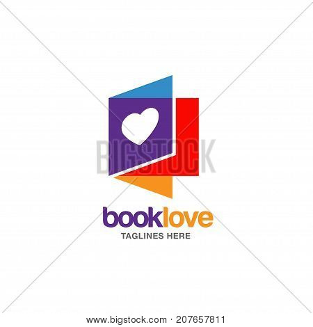 Creative book lover vector logo, book and heart logo, Book Store and library vector logo design. Learning study idea icon, education Vector illustration
