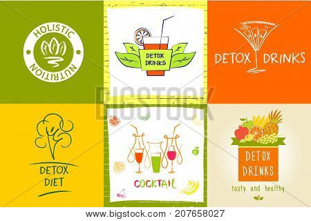 Set Of Vector Logo Detox Water Drink, Diet And Holistic Nutritio