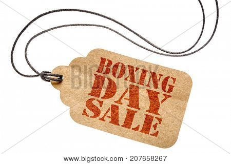 boxing day sale sign  - a paper price tag with twine isolated on white- shopping concept
