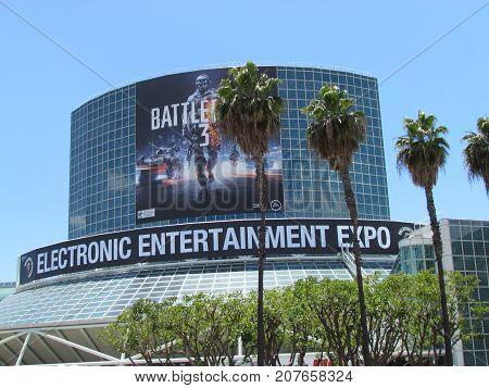 Los Angeles California USA, 6 June 2011: E3 Electronic Entertainment Expo convention center exterior showing battlefield 3
