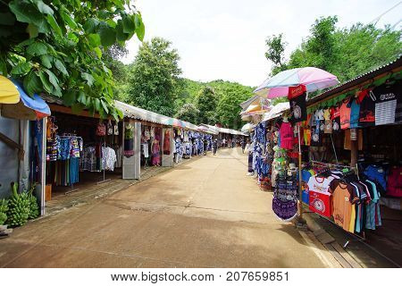 KANCHANABURI THAILAND - July 7 2017: Thai local market along the road to Krasae Cave or The Death Rail Way Kanchanaburi Thailand. July 7 2017