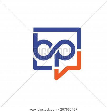bp letter with square bubble logo, Letter A&C logo vector