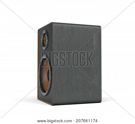 3d rendering of a large black stereo box with two round speakers on white background. Sound equipment. Home cinema. Audio appliances.
