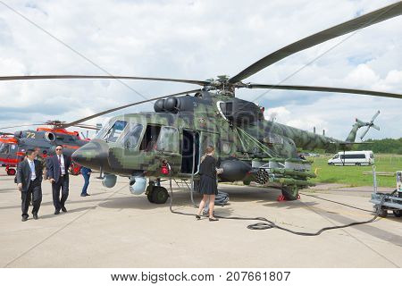 ZHUKOVSKY, RUSSIA - JULY 20, 2017: Military transport helicopter Mi-171Sh on the MAKS-2017 air show