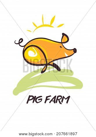 Sketch image illustration. Image of hand-drawn pig. Template poster banner logo for local farm business. Text Pig farm.