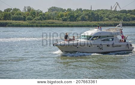 Rostov-on-DonRussia -September 162017:Yacht with passengers on board sails on the river Don
