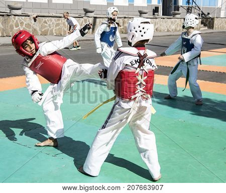 Rostov-on-Don Russia- September 162017: Young athletes demonstrate success in martial arts in front of the audience at the celebration of the day of the city of Rostov-on-Don
