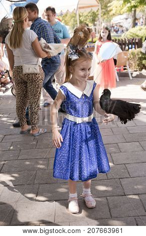 Rostov-on-Don Russia- September 162017: Girl with tame birds. Nearby there are participants of an attraction