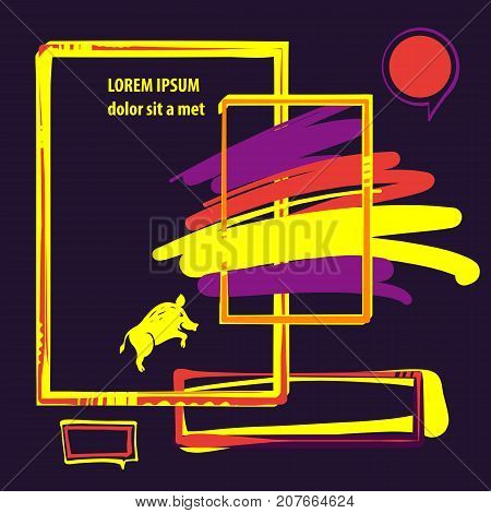 Sketch image illustration. Image of hand-drawn boar. Template poster banner logo