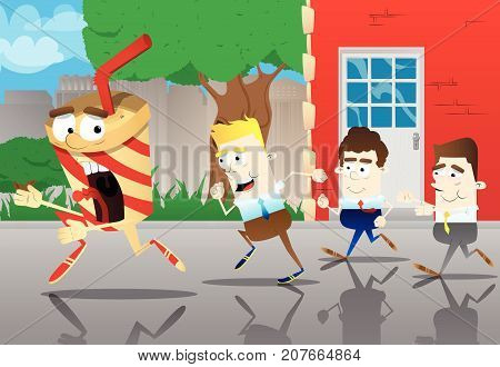 Business office workers running after a terrified cup of coffee. Vector cartoon illustration.