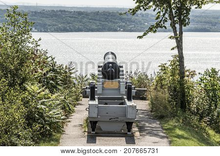 Cannon in Quebec City Canada - plaines Abraham overlooking Saint Lawrence river