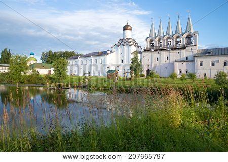 Solar September morning in the Tikhvin Uspensky monastery. Leningrad region, Russia