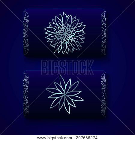 Luxury business cards templates in deep blue and silver colors on dark background. VIP gift card designs. Greetings card layout. Vector EPS10 file.