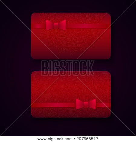 Luxury business cards templates in red color with ribbon bows and embossing effect on dark background. VIP gift card designs. Greetings card layout. Vector EPS10 file.