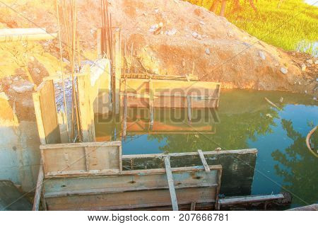 Construction bridge cross river with copy space add text ( full High definition Photo)