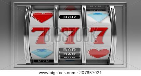 Casino concept. Slot machine closeup. 3d illustration