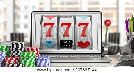 Slot Machine On A Laptop Screen And Poker Chips. 3D Illustration