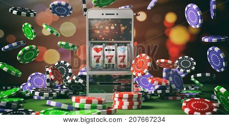 Slot Machine On A Smartphone Screen, Poker Chips And Abstract Background. 3D Illustration