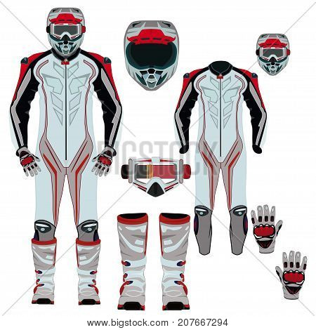 Vector illustration of motorcycle riding or race suit and protective gear. Hovering motorcycle, hovercraft suit, boots, gloves, helmet and goggles icons isolated on white background. Flat style design