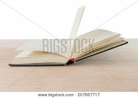 open book on wooden floor background with copy space add text ( high definition image )