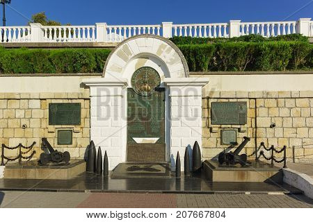 Russia Crimea Sevastopol - September 03.2017: monument to the Heroes of the squadron on the embankment of the Primorsky Boulevard for the 35th anniversary of the liberation of Sevastopol