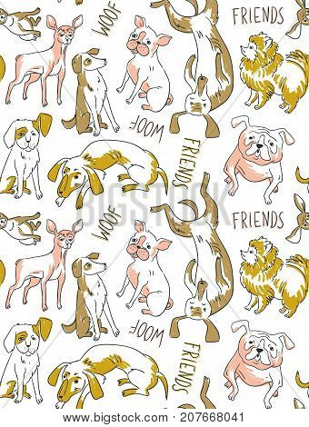Vector seamless background with dogs of different breeds. Funny hand drawn fabric design.