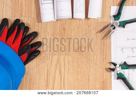 Electrical Diagrams, Protective Helmet With Gloves And Work Tools, Copy Space For Text On Board