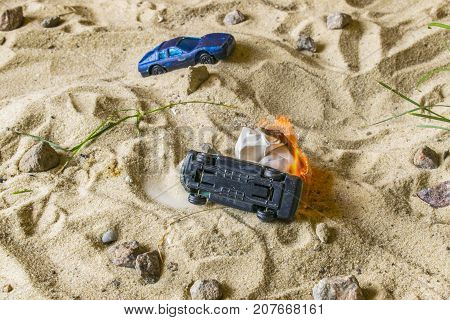 Racing Cars Compete In The Sand.
