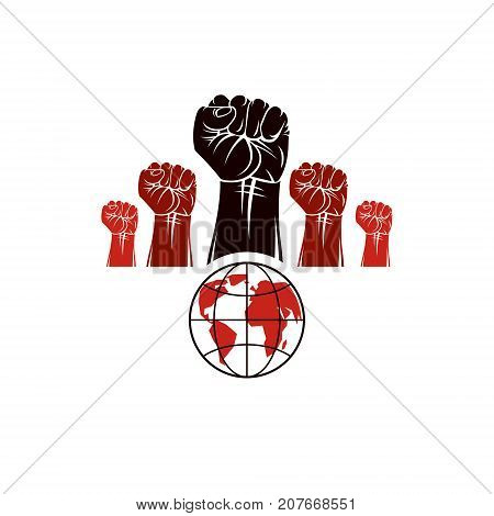 Clenched fists of angry people vector emblem composed with Earth globe symbol. Civil war abstract illustration. Social revolution concept.