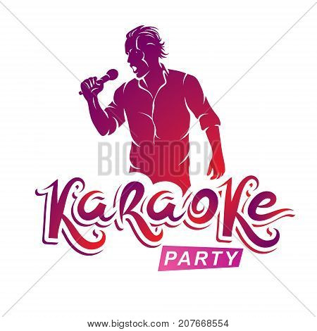 Happy man with microphone sings karaoke live music concert vector invitation leaflet. Karaoke party writing.