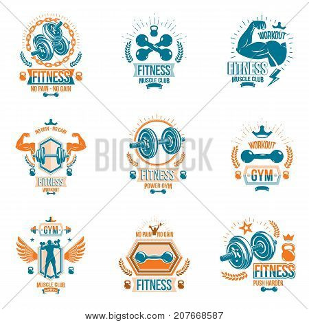 Vector power lifting theme emblems and motivational flyer templates collection made using dumbbells kettle bells sport equipment and bodybuilder body silhouettes.