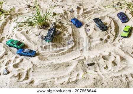 Racing Cars On The Sand Compete In The Game. Strong Opposing