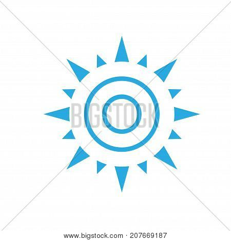 abstract simple sun icon isolated on white background, Sun Vector isolated, Sun summer icon design