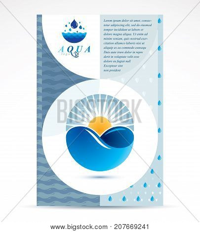 Water treatment company presentation flyer. Freshwater conceptual blue graphic vector illustration for use in spa and resort organizations.