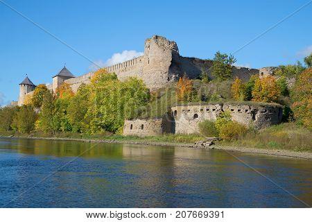 Ivangorod fortress in the Indian summer. Leningrad Region, Russia
