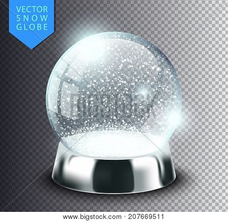 Snow globe empty template isolated on transparent background. Christmas magic ball. Realistic Xmas snowglobe vector illustration. Winter in glass ball crystal dome icon snowflake and silver stand.
