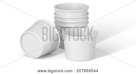 Blank Disposable Paper  or cardboards cup for ice cream on White Background. Set template for the placement of the logo. 3D rendering