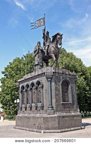 Vladimir Russia - 16 July 2017: Monument to the Baptist of land Vladimir equal to the apostles Prince Vladimir the Red Sun and the St. Theodore. Sculptor Sergey Isakov.