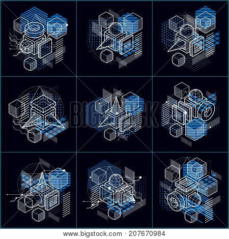 Abstract Vector Backgrounds With Isometric Lines And Shapes. Cubes, Hexagons, Squares, Rectangles An