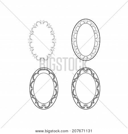 Frame oval of twig set. Fashion graphic background design. Modern stylish abstract texture. Monochrome template for prints textiles wrapping wallpaper. Design flat element. Vector illustration
