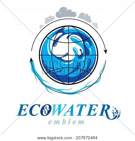 Pure water vector abstract symbol for use in mineral water advertising. Alternative medicine concept.