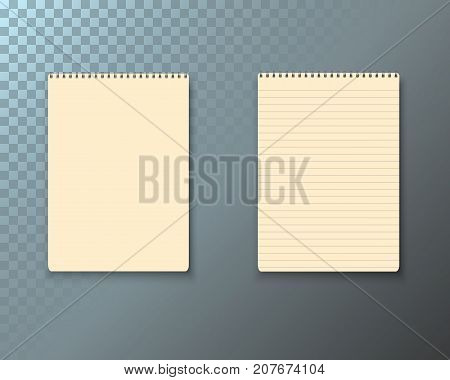 Illustration of Vector Notepad Set. Realistic Vector Empty Notepad Mockup