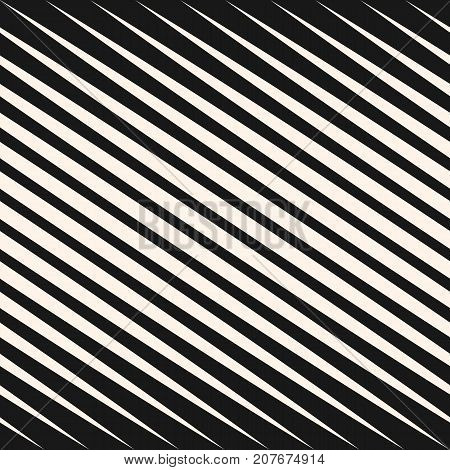 Vector geometric halftone diagonal lines seamless pattern. Black and white slanted stripes. Gradient transition effect texture. Modern graphic, abstract monochrome background. Stripes pattern. Design pattern. Lines pattern. Diagonal pattern.