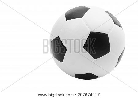 Soccer ball familiar black and white truncated icosahedron pattern isolated on white background