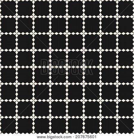 Vector grid seamless pattern. Abstract geometric texture with square, lattice, jagged shapes, cross, lines. Simple monochrome background, repeat tiles. Dark modern design for decor, prints, digital, web. Square mesh pattern.