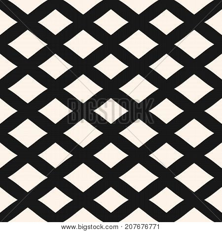 Diamonds seamless pattern. Vector geometric texture with lozenges, rhombuses. Simple abstract monochrome background with intersecting lines, lattice, mesh, repeat tiles. Decorative design element. Mesh pattern.