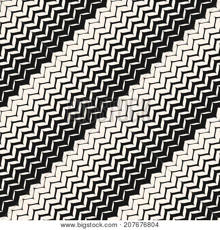 Diagonal zigzag lines seamless pattern. Vector halftone transition background. Abstract monochrome geometric texture. Zig zag wavy stripes. Stylish design element for decor, prints, textile, fabric. Diagonal pattern. Zigzag pattern. Stripes pattern.