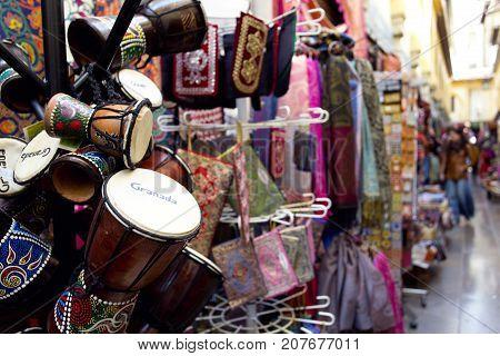 Alcaiceria Market In Granada, Spain. Narrow Streets Filled With Shops Called Alcaiceria